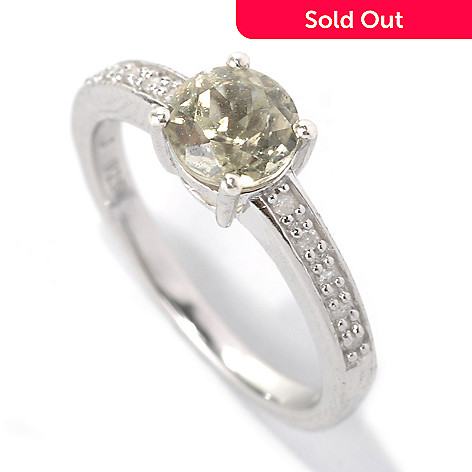 131-825 - Gem Insider® Sterling Silver Round Zultanite & Diamond Ring
