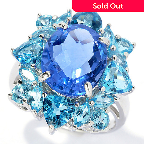 131-832 - Gem Insider Sterling Silver 7.5ctw Color Change Fluorite & Blue Topaz Ring