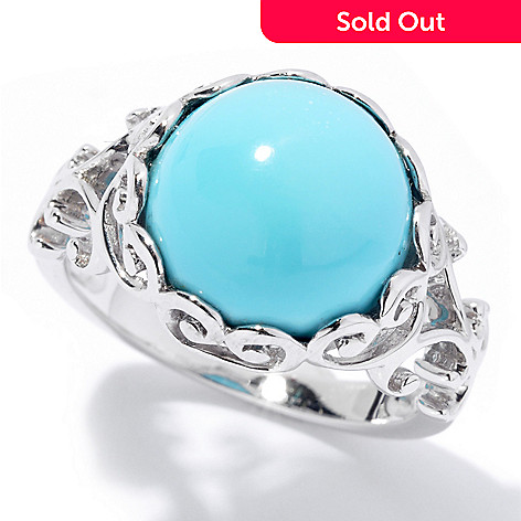 131-834 - Gem Insider™ Sterling Silver 12mm Sleeping Beauty Turquoise Scrollwork Ring