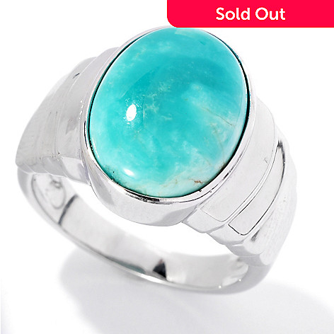 131-835 - Gem Insider™ Sterling Silver 14 x 10mm Oval Fox Turquoise Tapered Ring