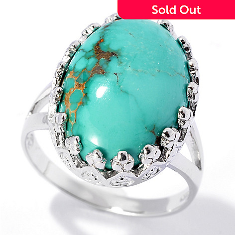 131-836 - Gem Insider™ Sterling Silver 17 x 12mm Carico Lake Turquoise Crowned Ring