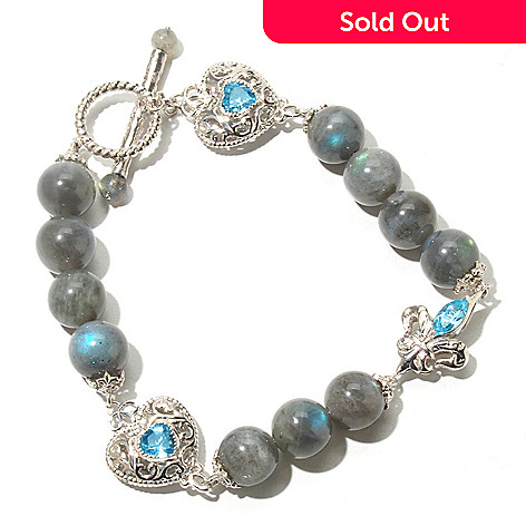 131-847 - Dallas Prince 8.5'' Labradorite & Swiss Blue Topaz Beaded Station Toggle Bracelet