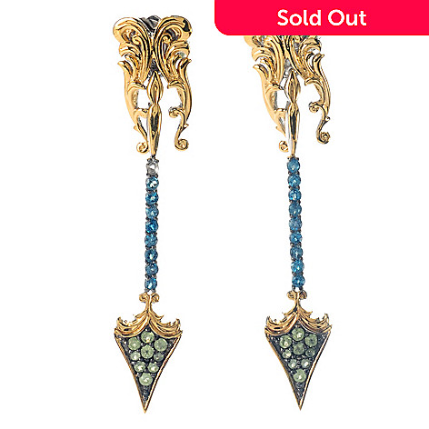 131-850 - Dallas Prince Designs 2.25'' 1.64ctw London Blue Topaz & Peridot Arrow Dangle Earrings
