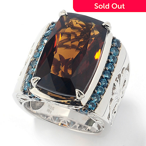 131-852 - Dallas Prince Sterling Silver 14.80ctw Whiskey Quartz & London Blue Topaz Ring