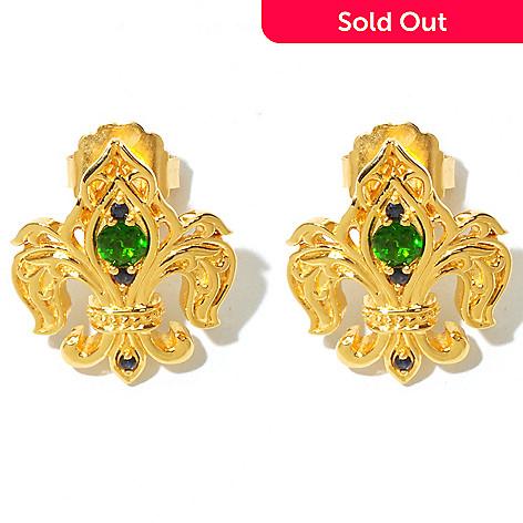 131-855 - Dallas Prince Chrome Diopside & Sapphire Fleur-de-lis Earrings