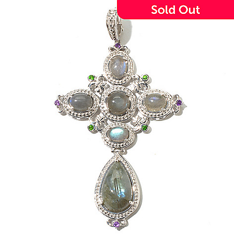 131-856 - Dallas Prince Sterling Silver Labradorite, Chrome Diopside & Amethyst Enhancer
