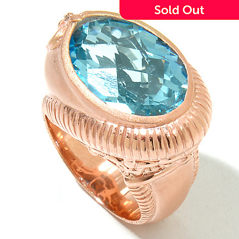 131-858 - Dallas Prince 9.56ctw Sky Blue Topaz & Diamond Wrapped Flat Top Brushed Ring