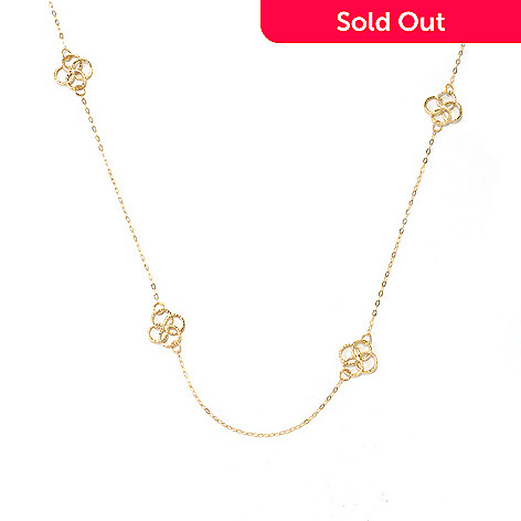 131-870 - Italian Designs with Stefano 14K Gold 24'' Overlapping Rings Station Necklace, 1.75 grams