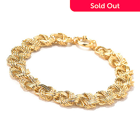 131-872 - Italian Designs with Stefano 14K Gold 7.5'' Textured Link Bracelet, 6.64 grams