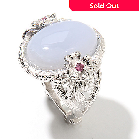 131-878 - Dallas Prince Sterling Silver 18 x 13mm Blue Chalcedony & Grape Rhodolite Ring