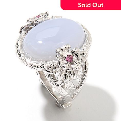 131-878 - Dallas Prince Sterling Silver 18 x 13mm Blue Chalcedony & Grape Rhodolite Ring