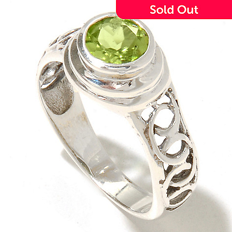 131-882 - Gem Insider® Sterling Silver Round Peridot Wreath Motif Cut-out Ring