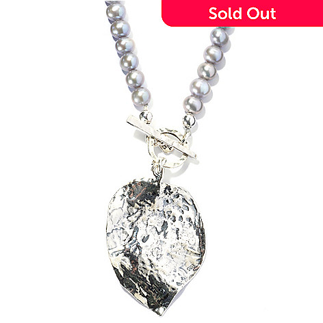 131-884 - Passage to Israel Sterling Silver 18'' Freshwater Cultured Pearl Leaf Beaded Toggle Necklace