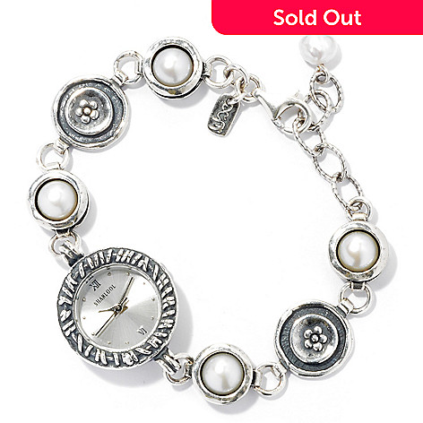131-886 - Passage to Israel Sterling Silver 6.5'' Freshwater Cultured Pearl Bracelet Watch