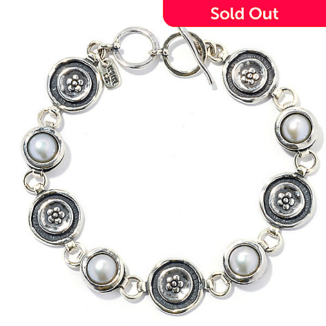 131-887 - Passage to Israel Sterling Silver 8.25'' Freshwater Cultured Pearl Toggle Bracelet
