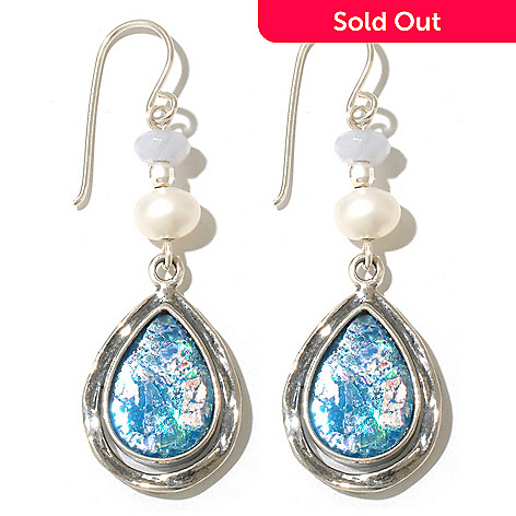 131-890 - Passage to Israel™ Sterling Silver 2'' Roman Glass, Blue Agate & Freshwater Cultured Pearl Earrings