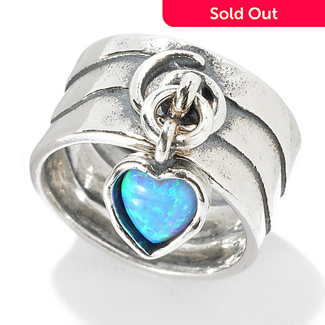 131-891 - Passage to Israel™ Sterling Silver Simulated Blue Opal Heart Charm Wide Band Ring