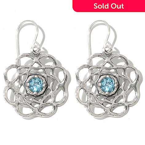 131-894 - Passage to Israel™ Sterling Silver 1.25'' Light Blue Topaz Flower Drop Earrings