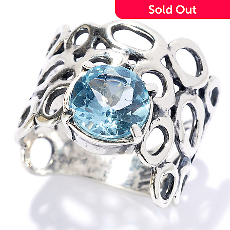 131-895 - Passage to Israel™ Sterling Silver 1.05ctw Light Blue Topaz Wide Band Ring