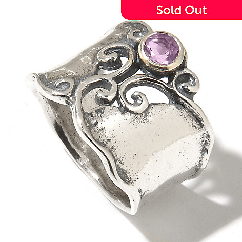 131-896 - Passage to Israel Sterling Silver Amethyst Swirl Design Wide Band Ring