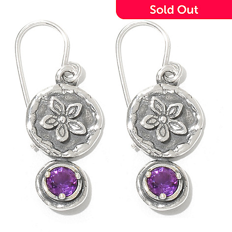 131-897 - Passage to Israel Sterling Silver 1.25'' Amethyst Flower Design Drop Earrings