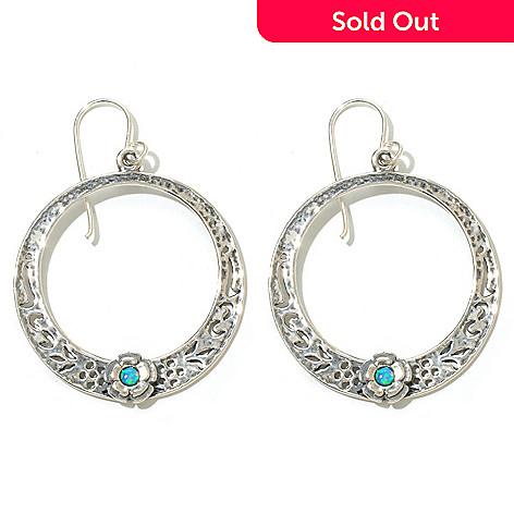 131-899 - Passage to Israel Sterling Silver 1.75'' Simulated Blue Opal Circle Drop Earrings
