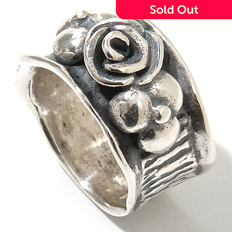 131-900 - Passage to Israel™ Sterling Silver Hammered & Textured Flower Ring