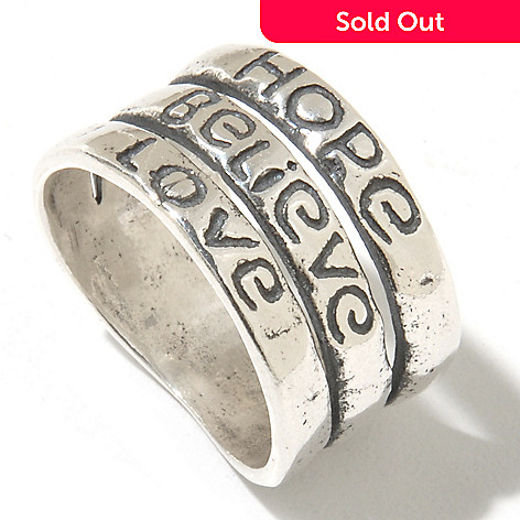 131-901 - Passage to Israel Sterling Silver ''Inspirational Words'' Three-Row Ring