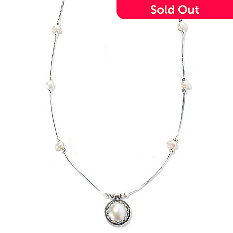 131-902 - Passage to Israel™ Sterling Silver 18'' Freshwater Cultured Pearl Station Necklace