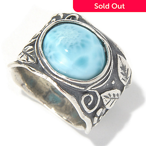 131-903 - Passage to Israel™ Sterling Silver 12 x 10mm Larimar Leaf Design Ring