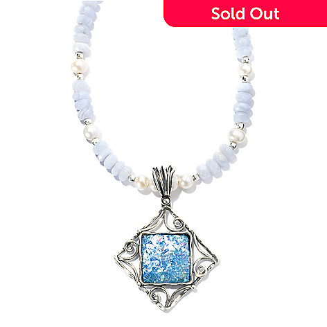 131-905 - Passage to Israel Sterling Silver Blue Roman Glass Pendant w/ Cultured Pearl & Beaded Agate Necklace