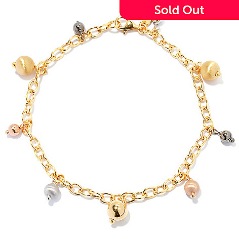 131-906 - Portofino 18K Gold Embraced™ Italian-Made Beaded Rolo Link Anklet