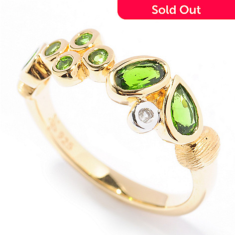 131-930 - Michelle Albala Chrome Diopside & White Sapphire Scattered Band Ring