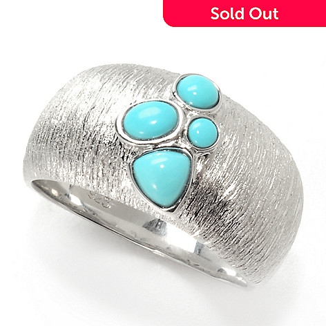 131-931 - Michelle Albala Sleeping Beauty Turquoise Cluster Textured Wide Band Ring