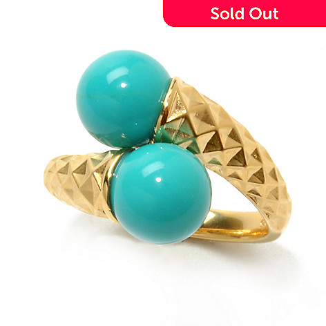 131-932 - Michelle Albala 8.5mm Turquoise Bead Textured Bypass Ring