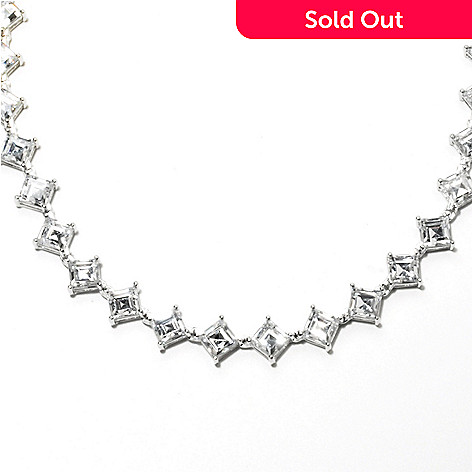 131-939 - Brilliante® Platinum Embraced™ Diamond Shaped Simulated Diamond Tennis Necklace