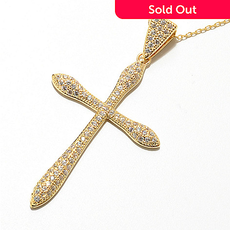 131-940 - Brilliante® Pave Set Simulated Diamond Cross Pendant w/ 18'' Chain