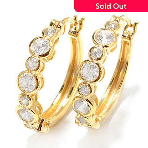 131-942 - Brilliante® 1'' 2.48 DEW Semi Bezel Set Round Simulated Diamond Hoop Earrings