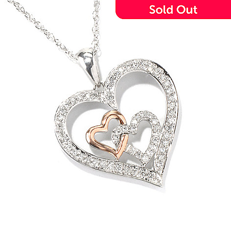 131-943 - Diamond Treasures Sterling Silver & 10K Rose Gold 0.25ctw Diamond Three-Heart Pendant