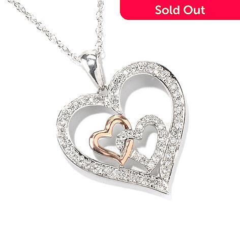 131-943 - Diamond Treasures® Sterling Silver & 10K Rose Gold 0.25ctw Diamond Three-Heart Pendant