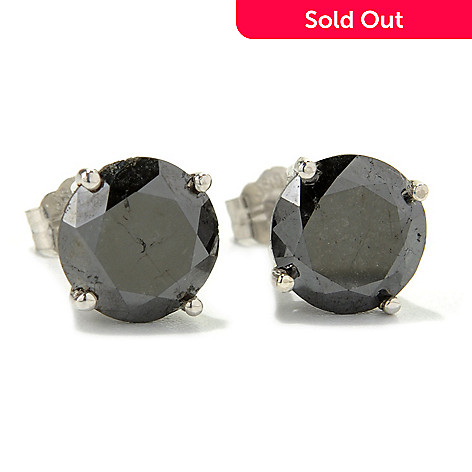 131-944 - Diamond Treasures Sterling Silver Round Full Cut Black Diamond Stud Earrings