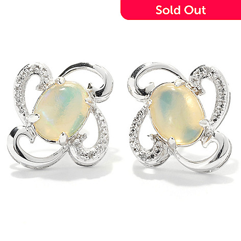 131-945 - Gem Insider™ Sterling Silver 8 x 6mm Ethiopian Opal and Diamond Swirl Earrings