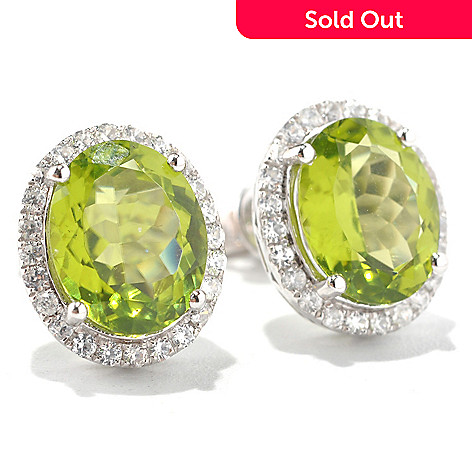 131-951 - Gem Insider™ Sterling Silver 4.88ctw Peridot & White Zircon Halo Stud Earrings