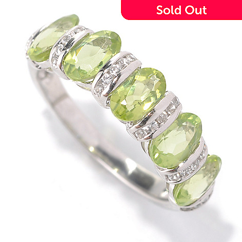 131-952 - Gem Insider™ Sterling Silver 2.65ctw Peridot & White Zircon Band Ring