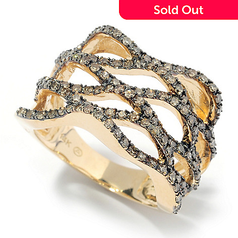 131-953 - Beverly Hills Elegance® 14K Gold 1.00ctw Mocha Diamond Open Weave Ring
