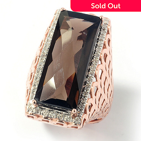 131-954 - Beverly Hills Elegance® 12.50ctw Smoky Quartz & Diamond North-South Ring
