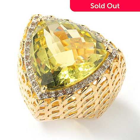 131-955 - Beverly Hills Elegance® 18mm Colored Quartz & Champagne Diamond Triangle Ring