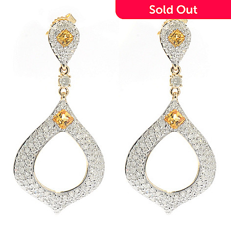 131-956 - Beverly Hills Elegance® 14K Gold 1.25'' 1.55ctw Diamond & Yellow Sapphire Earrings