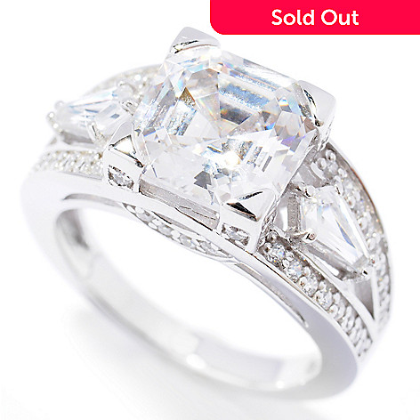 131-968 - Brilliante® Platinum Embraced™ 3.94 DEW Asscher Simulated Diamond Split Shank Ring