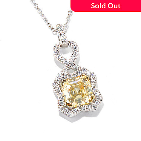 131-971 - Brilliante® Platinum Embraced™ 2.82 DEW Canary Simulated Diamond Pendant w/ Chain